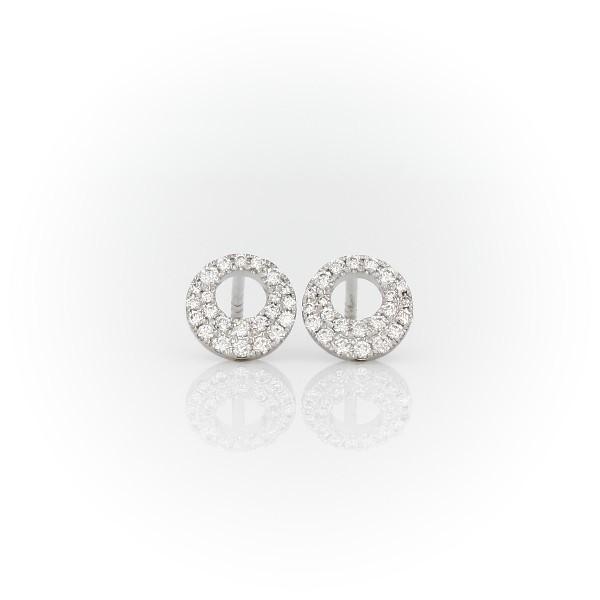 Diamond Circle Earrings in 14k White Gold (1/4 ct. tw.)