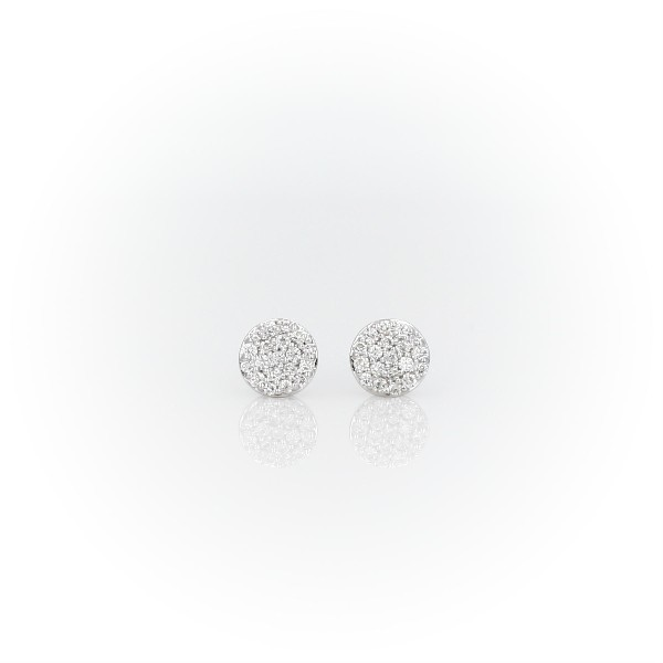 Mini Micropavé Diamond Button Earrings in 14k White Gold (1/7 ct. tw.)