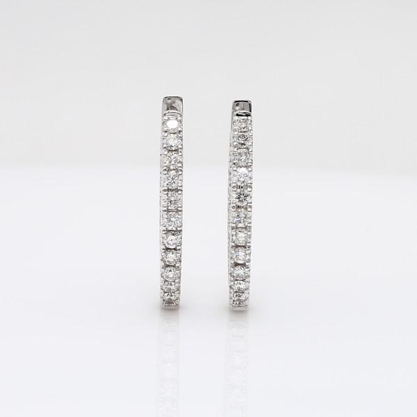 14k 白金鑽石密釘圈形耳環(5/8 克拉總重量)