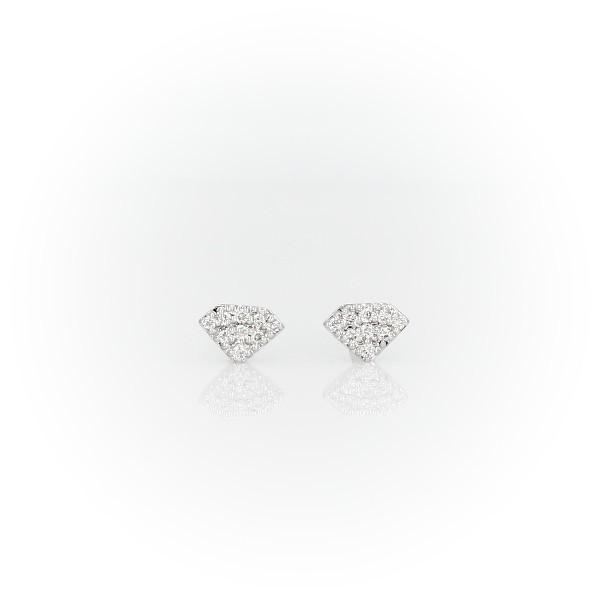 Mini Diamond-Shaped Diamond Stud Earrings in 14k White Gold