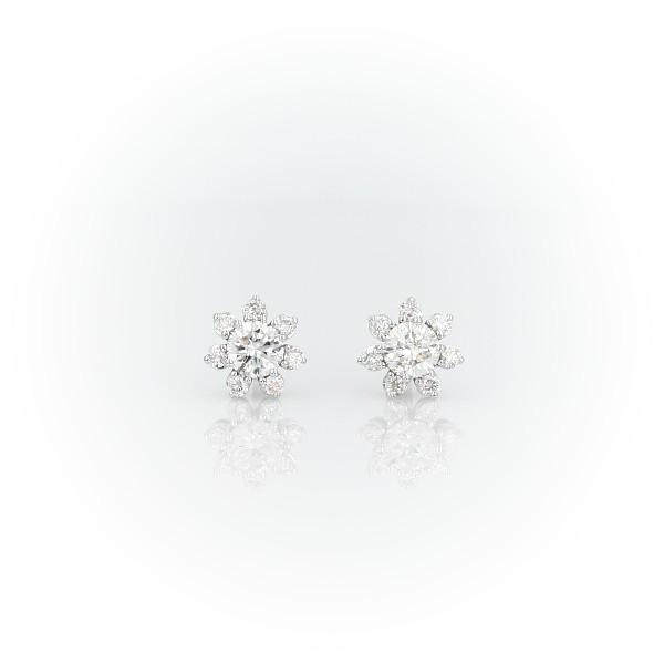 14k 白金鑽石花卉釘款耳環(3/8 克拉總重量)