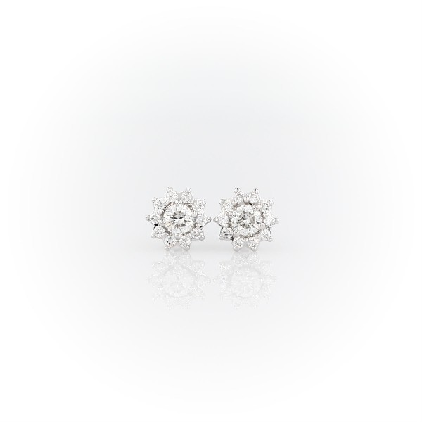 14k 白金小巧钻石旭日状耳钉<br>(1/3 克拉总重量)