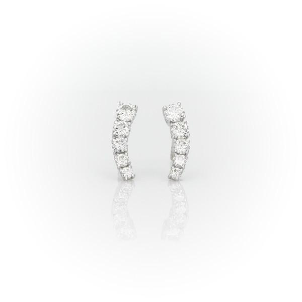 14k 白金鑽石長弧形耳釘耳環(1/2 克拉總重量)
