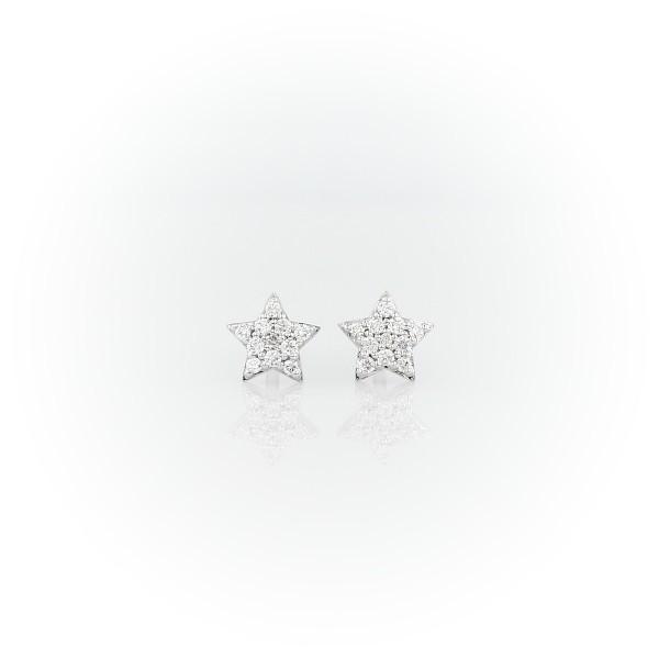 14k 白金迷你星形鑽石耳環(1/10 克拉總重量)