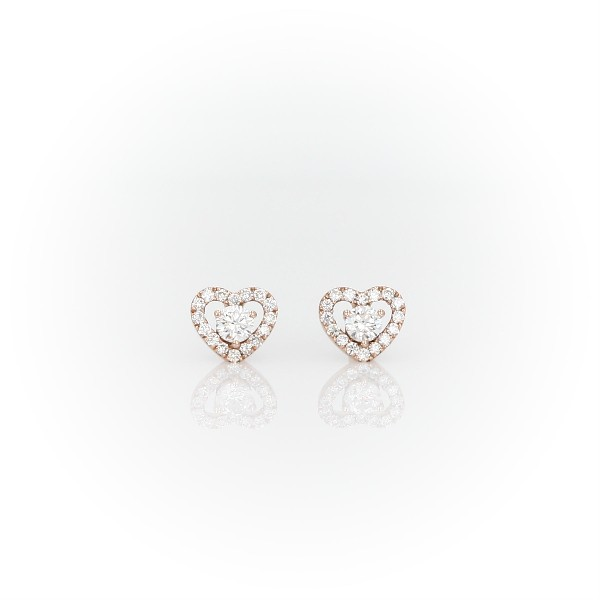 Petite Diamond Pavé Heart Stud Earrings in 14k Rose Gold (1/5 ct. tw.)