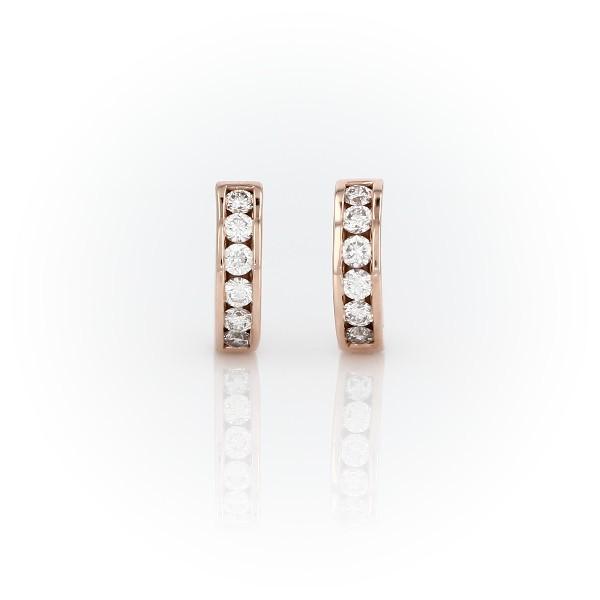 14k 玫瑰金鑽石迫鑲圈形耳環(1/2 克拉總重量)