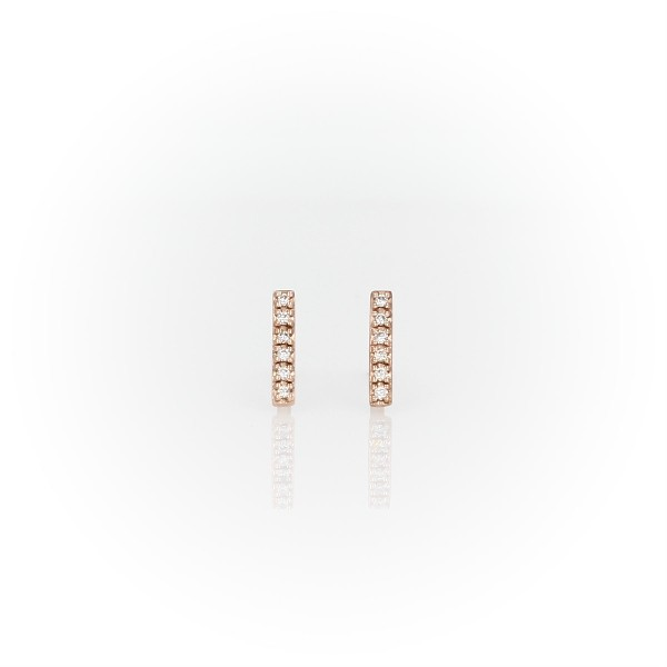 Mini boucles d'oreilles barre diamant en or rose 14 carats