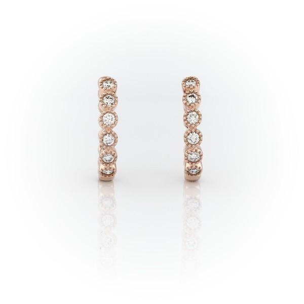 14k 玫瑰金小巧钻石锯状滚边圈形耳环(1/4 克拉总重量)