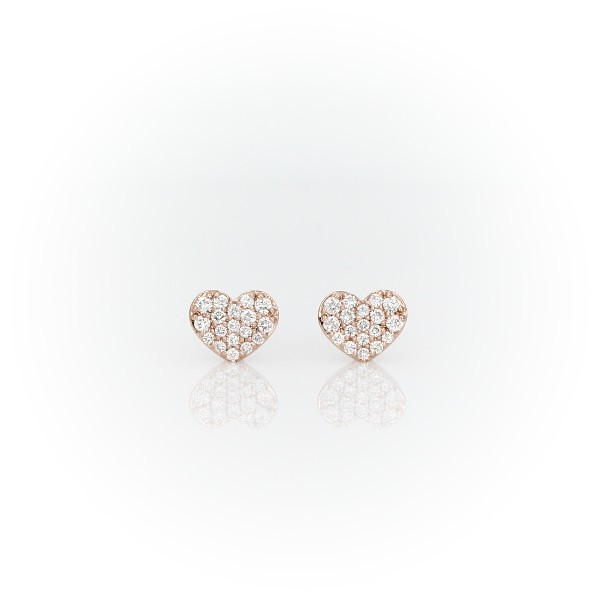 Mini Diamond Pave Heart Earrings in 14k Rose Gold