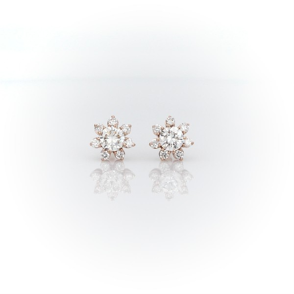 Diamond Floral Stud Earring in 14k Rose Gold (3/8 ct. tw.)