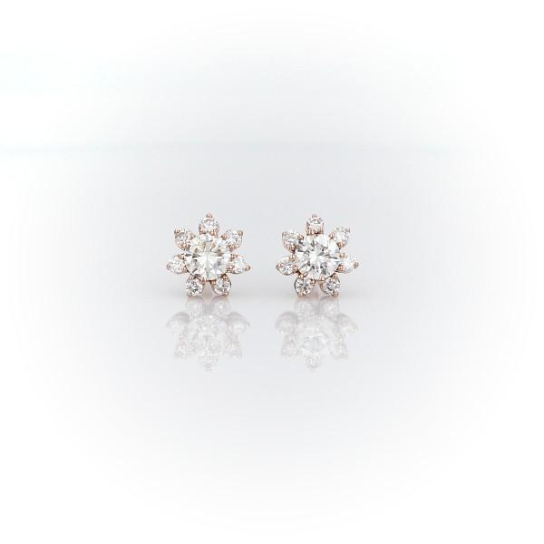 14k 玫瑰金鑽石花卉釘款耳環(3/8 克拉總重量)
