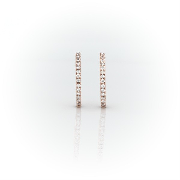 Petite Diamond Huggie Hoop Earrings in 14k Rose Gold (1/10 ct. tw.)