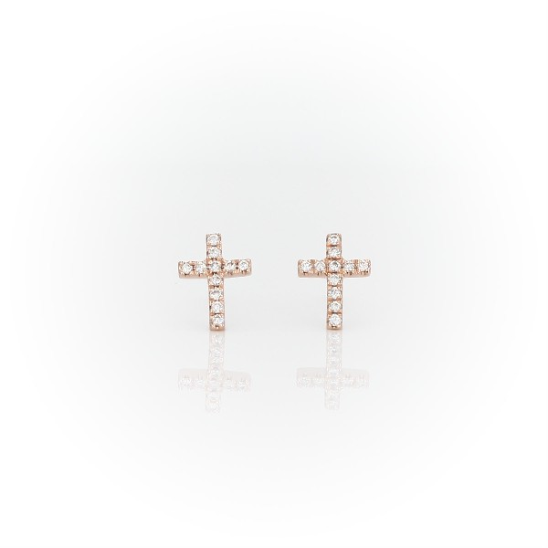 Mini Diamond Cross Stud Earrings 14k Rose Gold 112 Ct Tw Blue