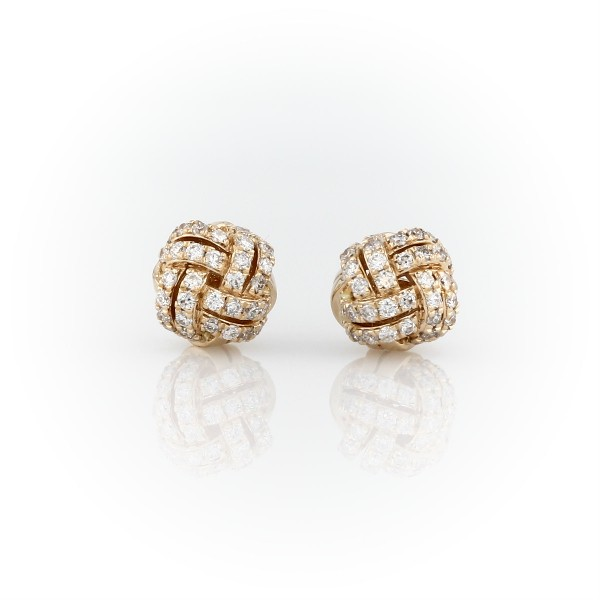 Love Knot Diamond Stud Earrings in 14k Yellow Gold (5/8 ct. tw.)