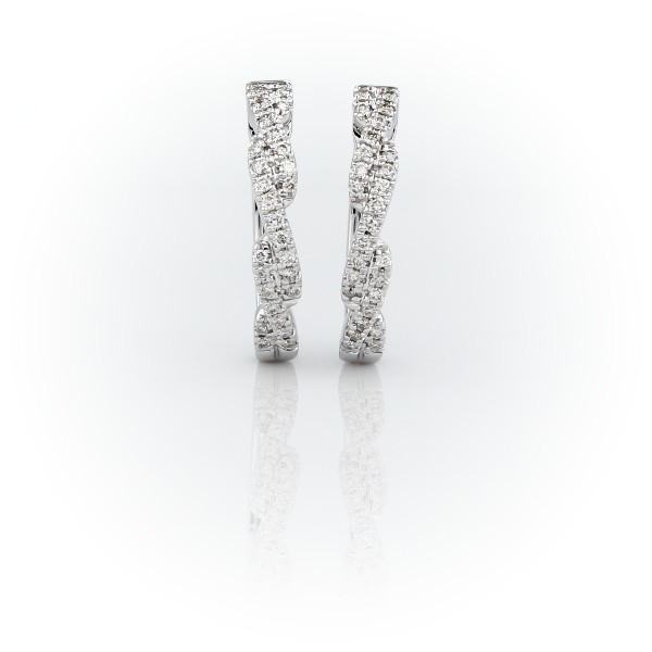 Diamond Pavé Twist Hoop Earrings in 14k White Gold (1/4 ct. tw.)