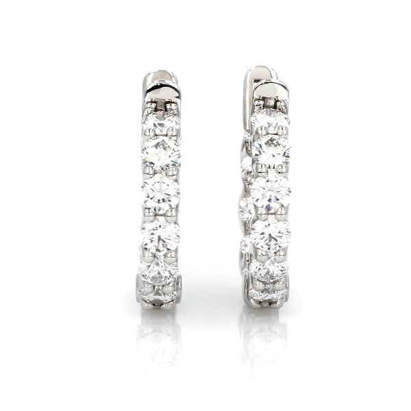 Blue Nile Signature Diamond Eternity Hoop Earrings in Platinum (3.5 ct. tw.)