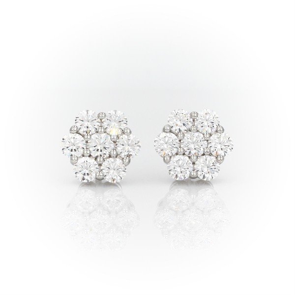 Blue Nile Signature Diamond Floral Stud Earrings in Platinum (2.20 ct. tw.)