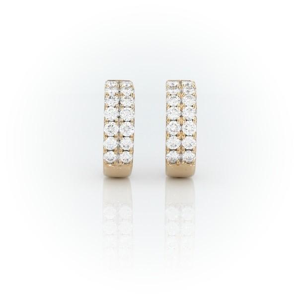 14k 黃金小巧鑽石圈形耳環(3/4 克拉總重量)