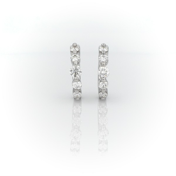 Petite Floating Diamond Huggie Hoop Earrings in 14k White Gold (1/2 ct. tw.)