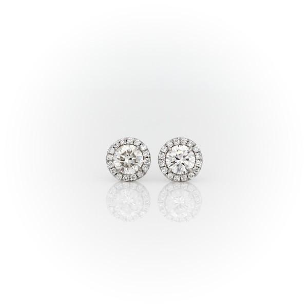 14k 白金光环钻石耳环(5/8 克拉总重量)