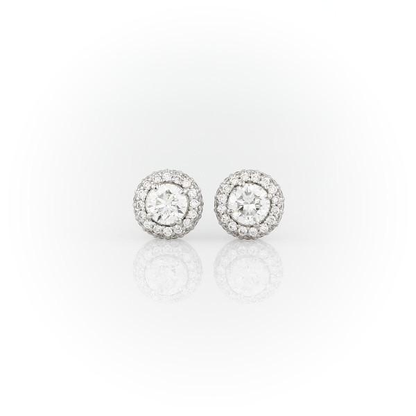 18k 白金圓頂鑽石耳釘耳環(3/4 克拉總重量)