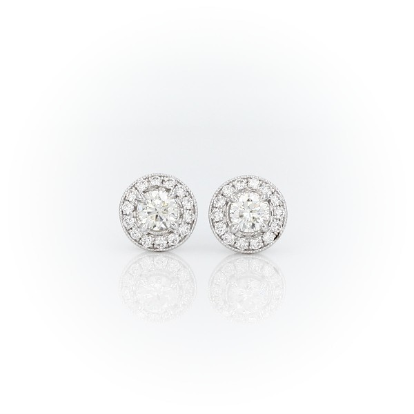 Vintage-Inspired Halo Diamond Earrings in 14k White Gold (3/4 ct. tw.)