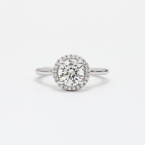 Plain Shank Floating Halo Engagement Ring In 14k White