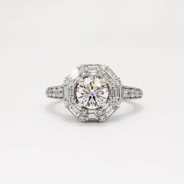 Monique Lhuillier Baguette Halo Diamond Engagement Ring In