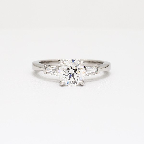 Tapered Baguette Diamond Engagement Ring In Platinum View With