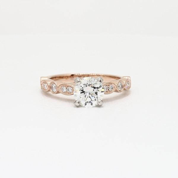 Milgrain Marquise and Dot Diamond Engagement Ring in 14k Rose Gold