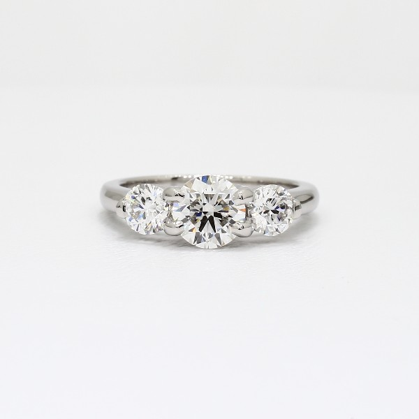 ThreeStone Petite Trellis Diamond Engagement Ring in Platinum