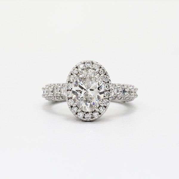 Bella Vaughan For Blue Nile Grandeur Oval Halo Diamond Engagement