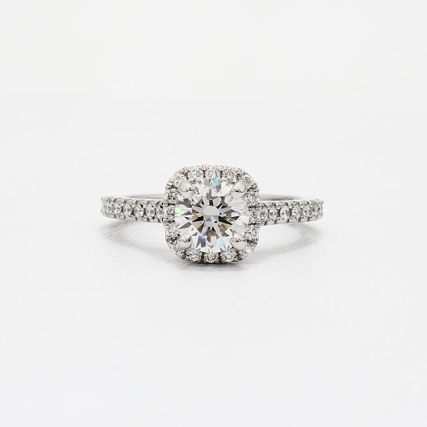 Cushion Halo Diamond Engagement Ring In Platinum 1 3 Ct Tw With Round 50 59 Ct Diamond