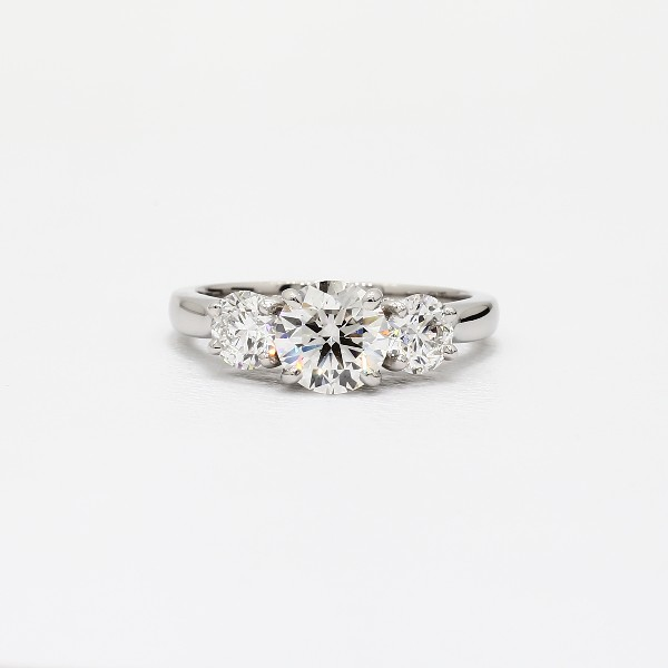 Three-Stone Pavé Gallery Diamond Engagement Ring In