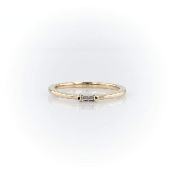14k 黃金迷你長方形切割時尚鑽石戒指