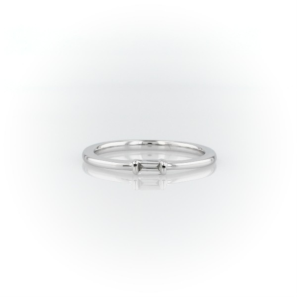 Mini Baguette-Cut Diamond Fashion Ring in 14k White Gold