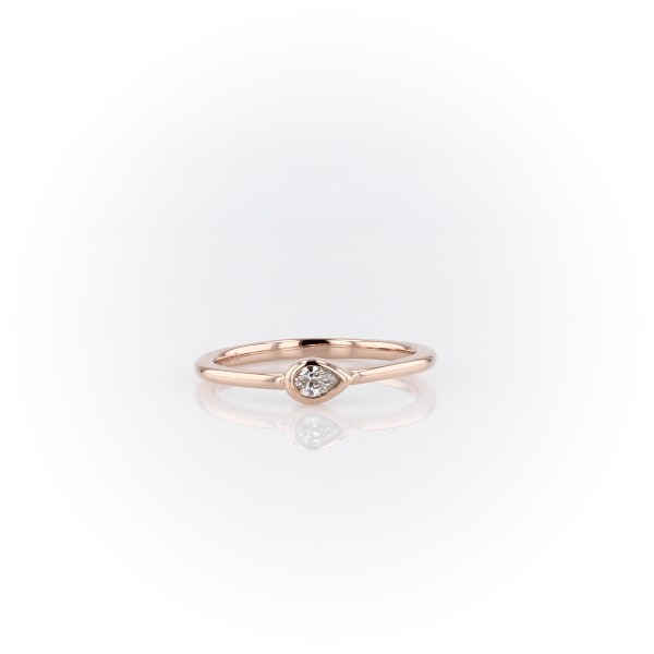 Mini Pear Shape Diamond Fashion Ring in 14k Rose Gold (1/10 ct. tw.)