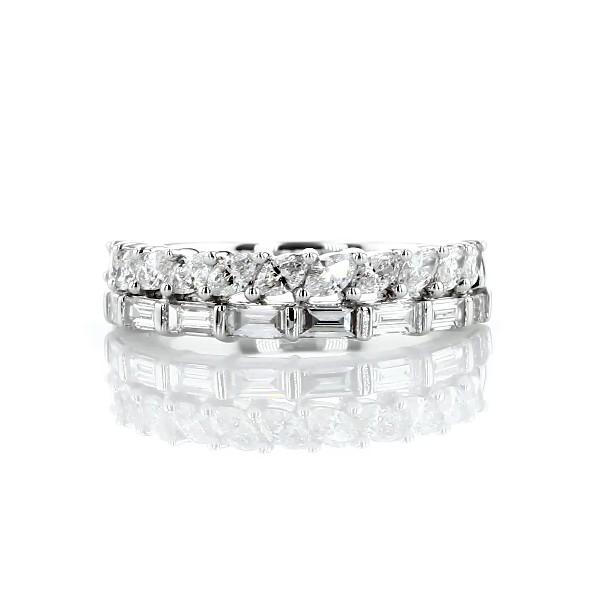 Anillo moderno con doble fila de diamantes de tallas baguette y marquesa en oro blanco de 14 k (1 qt. total)