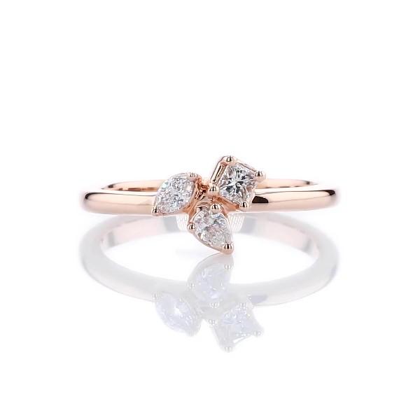 14k 玫瑰金混合形状钻石群簇时尚戒指(1/4 克拉总重量)