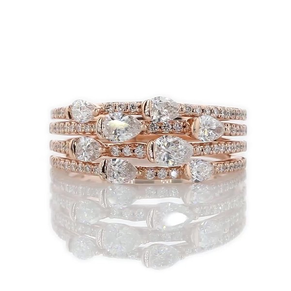 14k 玫瑰金精美多排梨形切割时尚戒指(1 1/10 克拉总重量)