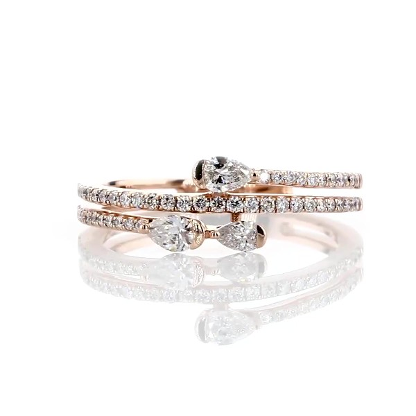 Pear Diamond Wrap Ring in 14k Rose Gold (3/8 ct. tw.)