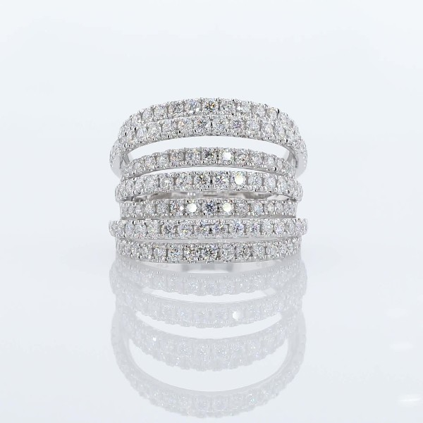 Seven-Row Mix Tiered Diamond Fashion Ring in 14K White Gold (1 1/2 ct. tw.)