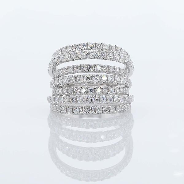 18k 白金七排不同層次鑽石時尚戒指(1 1/2 克拉總重量)