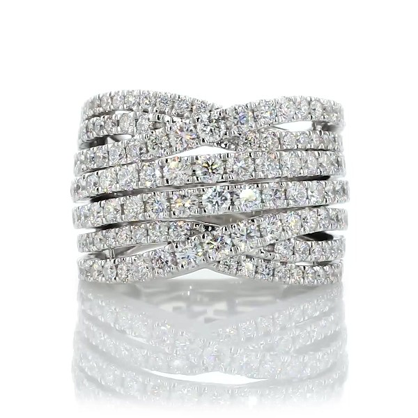 Diamond Alternating Woven Fashion Ring in 14k White Gold  (2 ct. tw.)