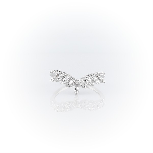 Diamond Leaf Crown Fashion Ring in 14k White Gold