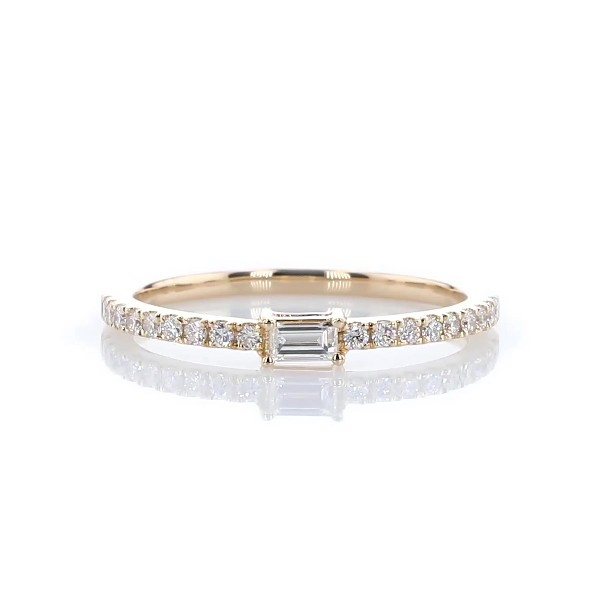 Diamond Pavé and Baguette Stacking Ring in 14k Yellow Gold (1/4 ct. tw.)