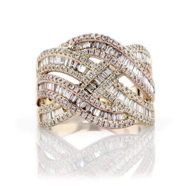Round and Baguette Criss Cross Diamond Fashion Ring in 14k Yellow Gold (1 ct. tw)