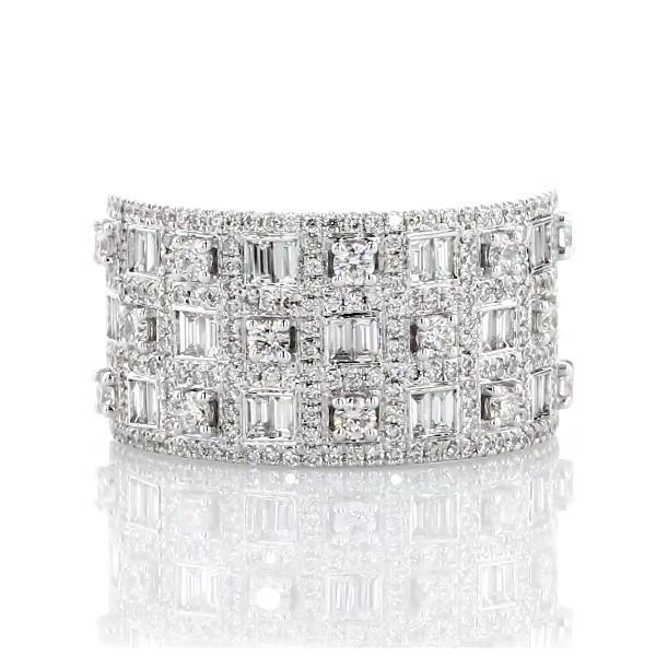 14k 白金多排圓形與長方形鑽石時尚戒指(1 1/5 克拉總重量)