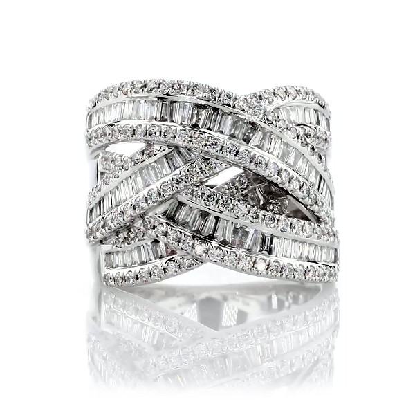 Bague mode diamants ronds et baguette en or blanc 14 carats (1 1/2 carats, poids total)