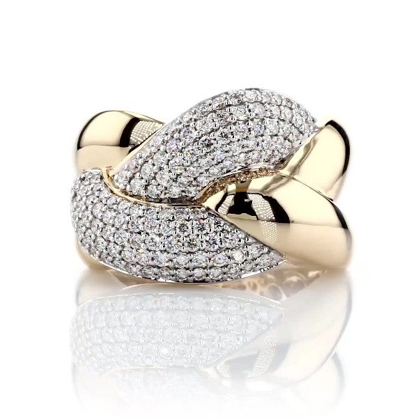 Diamond Link Intertwined Fashion Ring in 14k Yellow Gold (1 ct. tw.)
